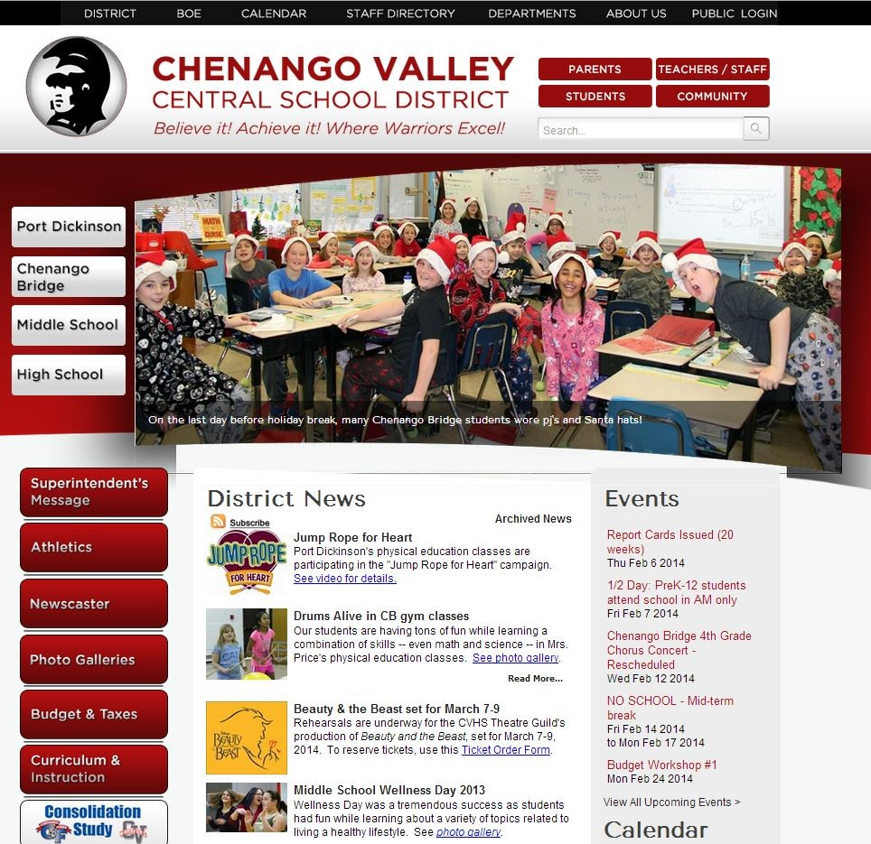Chenango Valley Central School District Homepage
